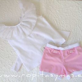 Camiseta blanca LAZO LYA de LE PETIT MARIETTE, verano 2020