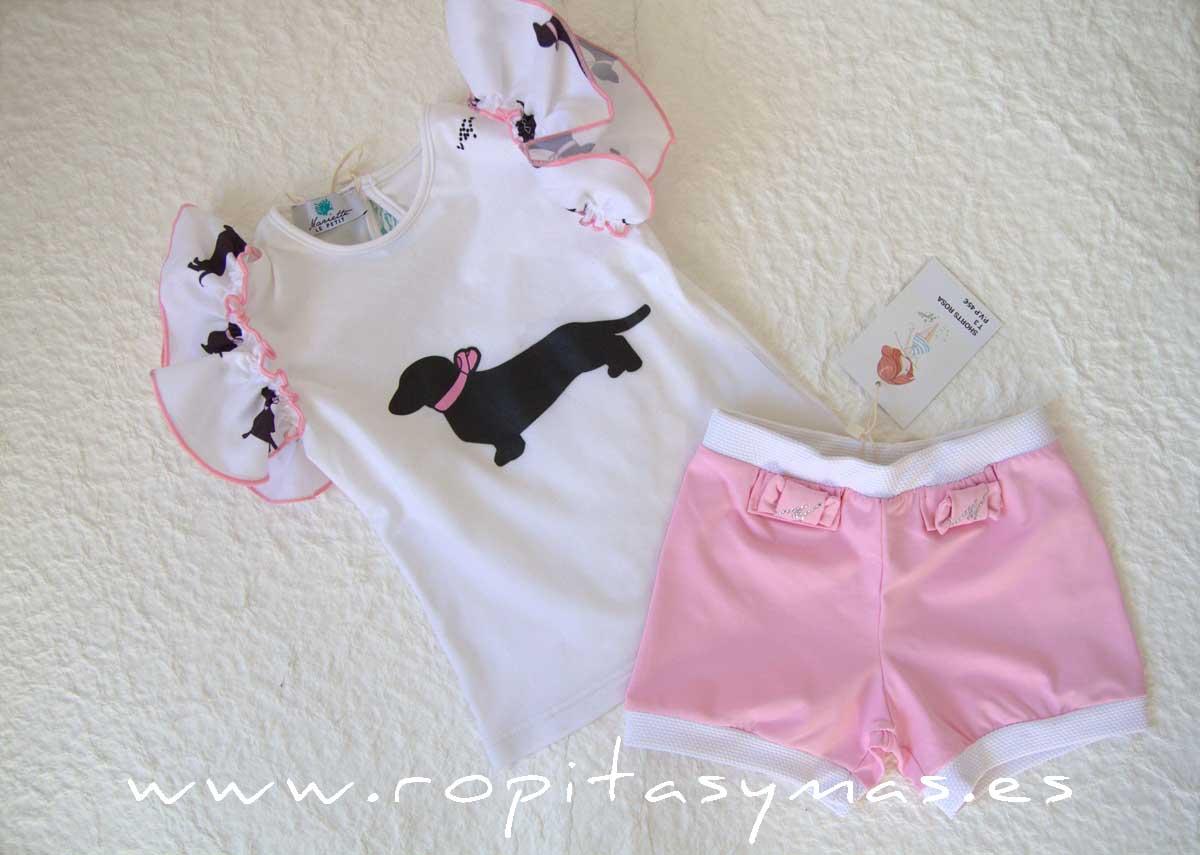 Camiseta y Pantalón corto rosa PERRITO LYA de LE PETIT MARIETTE