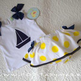 Conjunto marinero camiseta TOPOS niña PIO -PIO, verano 2020