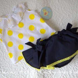 Conjunto marinero camisa TOPOS niña PIO -PIO, verano 2020