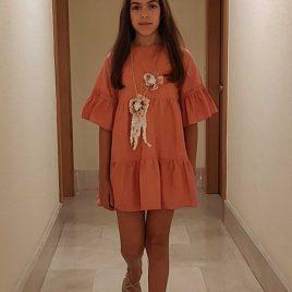 Vestido lino coral MIA Y LIA,  verano 2020