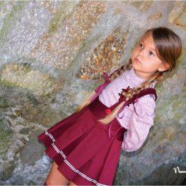 Conjunto falda y blusa GRANATE de NOMA, invierno 2020