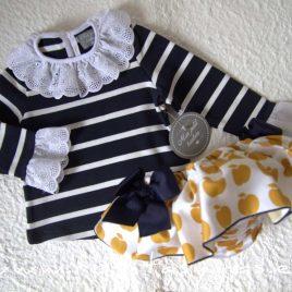 Sudadera bebé RAYAS azul y blanco de MON PETIT BONBON, invierno 2020