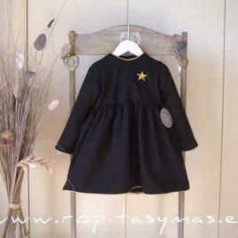 Vestido negro ESTRELLA dorada de MON PETIT BONBON, invierno 2020