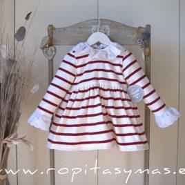 Vestido RAYAS burdeos y blancas de MON PETIT BONBON, invierno 2020