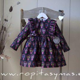 Vestido negro BOMBILLAS de MON PETIT BONBON, invierno 2020
