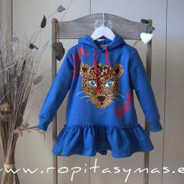 Vestido azulón capucha  LEOPARDO de MON PETIT BONBON, invierno 2020
