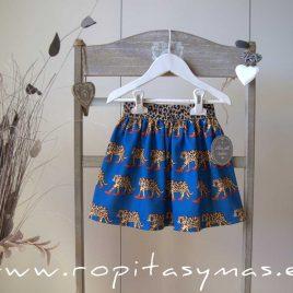 Falda azulona LEOPARDO de MON PETIT BONBON, invierno 2020