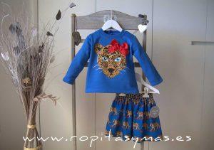 Sudadera niña azulona LEOPARDO de MON PETIT BONBON