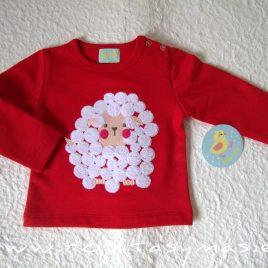 Sudadera niño roja OVEJITA de PIO-PIO, invierno 2020