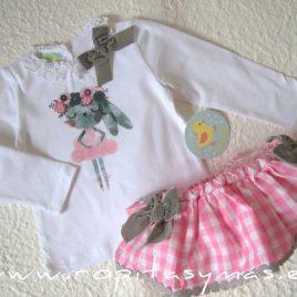Conjunto braguita-falda  vichy y camiseta CONEJITA  PIO-PIO, invierno 2020
