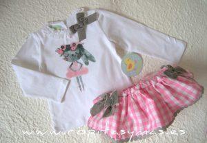 Conjunto braguita-falda vichy y camiseta CONEJITA PIO-PIO