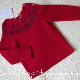 Jersey rojo cenefa SCOTISH de EVE CHILDREN, invierno 2020