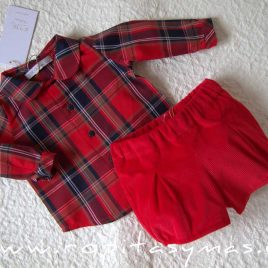 Conjunto bebe rojo tartán SCOTISH de EVE CHILDREN, invierno 2020