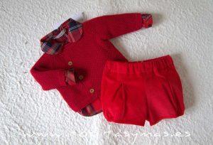 Conjunto bebe rojo tartán SCOTISH de EVE CHILDREN