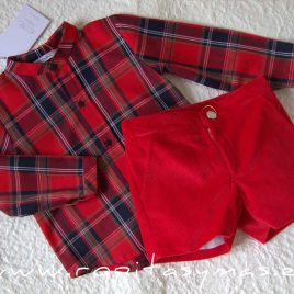 Conjunto niño rojo tartán SCOTISH de EVE CHILDREN, invierno 2020