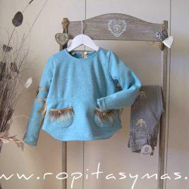 Sudadera turquesa YOUNG&CHIC MARQUESA niña de KAULI, invierno 2020