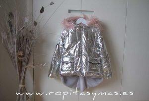 Chaquetón plata niña YOUNG&CHIC GLITTER de KAULI
