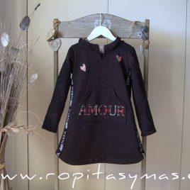 Vestido sudadera negro YOUNG & CHIC AMORE de KAULI, invierno 2020