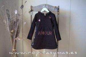 Vestido sudadera negro YOUNG & CHIC AMORE de KAULI