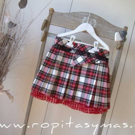 Falda roja tartán AMORE de KAULI, invierno 2020