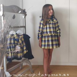 Vestido tartán AMARILLO LA PEPPA, invierno 2020