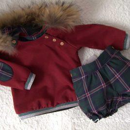 Conjunto niño bombacho escocés VERDE de LA PEPPA, invierno 2020