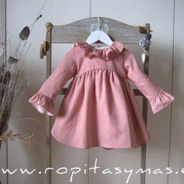 Vestido rosa talle alto  MOTAS de ANCAR, invierno 2020