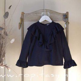 Blusa azul volante ORION de MAMI MARIA, invierno 2020