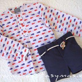 Camisa mao blanca PECES de MON PETIT BONBON, verano 2021