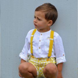 Conjunto niño bombacho vichy amarillo OLIVIA de NOMA, verano 2021