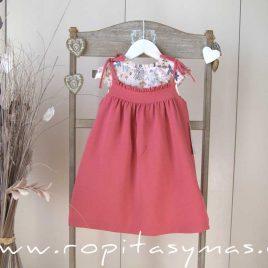 Vestido pichi FLORES rosa de ANCAR, verano 2021