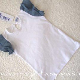 Camiseta blanca mangas azules de ANCAR verano 2021