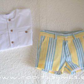 Pantalón muy corto amarillo RAYAS azules de ANCAR, verano 2021