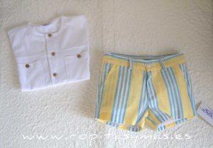 Pantalón muy corto amarillo RAYAS azules de ANCAR