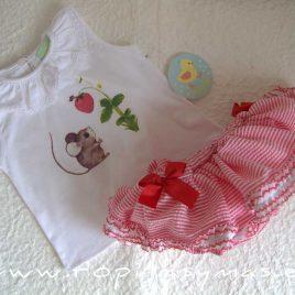 Conjunto braguita-falda y camiseta RATÓN de PIO-PIO, verano 2021