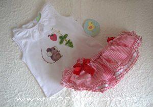 Conjunto braguita-falda y camiseta RATÓN de PIO-PIO