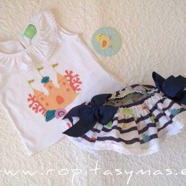 Conjunto braguita-falda y camiseta MARINERO de PIO-PIO, verano 2021