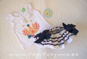 Conjunto braguita-falda y camiseta MARINERO de PIO-PIO