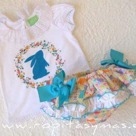 Conjunto braguita-falda y camiseta CONEJITO de PIO-PIO, verano 2021