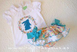 Conjunto braguita-falda y camiseta CONEJITO de PIO-PIO