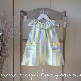 Vestido volante amarillo RAYAS azules de ANCAR, verano 2021