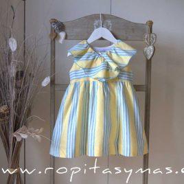 Vestido cruzado amarillo RAYAS azules de ANCAR, verano 2021
