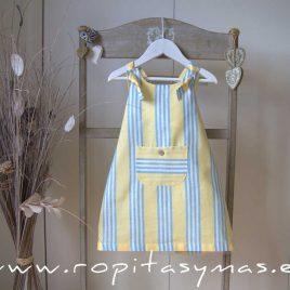 Pichi-vestido amarillo RAYAS azules de ANCAR, verano 2021