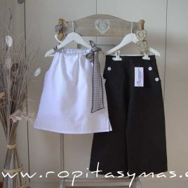 Blusa blanca lazo VICHY NEGRO de ANCAR, verano 2021