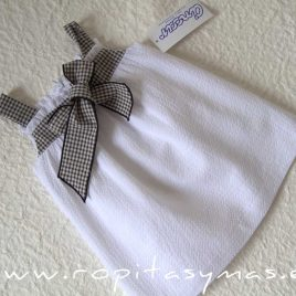Vestido blanco tirantes VICHY NEGRO de ANCAR, verano 2021
