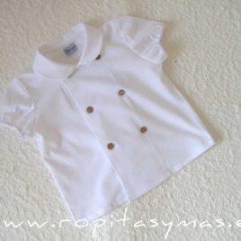 Camisa bebe blanca cruzada de ANCAR, verano 2021