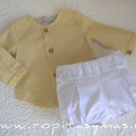 Conjunto bebé vichy amarillo PALM TREE de EVE CHILDREN, verano 2021