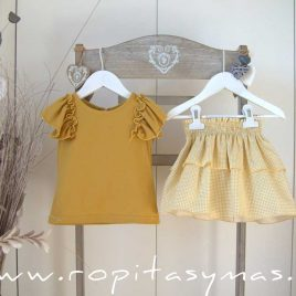 Conjunto falda vichy amarillo PALM TREE de EVE CHILDREN, verano 2021