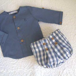 Conjunto bebé vichy azul camisa FLORENCE de EVE CHILDREN, verano 2021